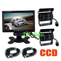 "2 x18 IR CCD 4 Pin Reversing Camera Night Vision Waterproof + 7"" LCD Monitor Rear View Kit Bus Truck Van 10pcs/lot"