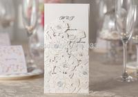 Rose Pattern Pocket Laser Cut Wedding Invitation-----BS11023