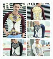 4colors new Fashion Designer Autumn Men Animal Cotton T Shirts Casual Long Sleeve Print T-shirt HouJieChuanQi  981size M-3XL