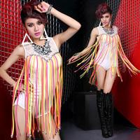 Brand New Designer Women Dance Costumes Dance Wear Sleeveless Colorful Fringed Cllar White Leotard Sexy Teddies/bodysuits