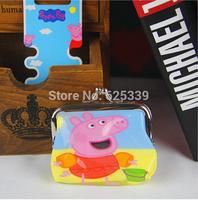 12 PCS / Lot Peppa Pig Children's Cartoon Wallet Kids Girls Cute Cartoon Coin Purse 4 Colors Free Shipping Retail