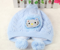 With Kitty Doll On Top 5 Colors Option Knitting Hello Kitty 1~3 Years Children Girl Beanies Hats