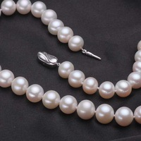 free shipping 45cm 10-11mm big white freshwater pearl necklace pearl 483/
