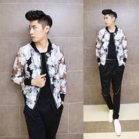 2014 male summer outerwear slim transparent yarn jacquard sunscreen jacket men's floral coat