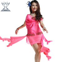 Belly dance set belly dance training clothing set high quality costume Made Of Comfortable Milk Silk 2 Pieces top and dress