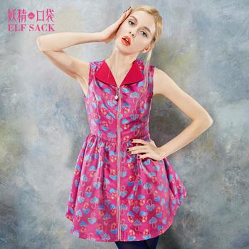 ELF SACK fashion brand new arrival 2014 women slim autumn mushroom print color block draped sleeveless lapel dress free shipping