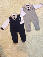 Retail 2014 New Brand Baby&Boy' fashion casual romper/Children's long sleeve Turn-down collar foot climbing clothing+free shipp