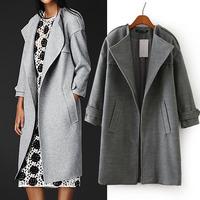 Fashion Epaulet long wool coat 2014 NEW wool coat woman jacket autumn overcoat solid clothes Woollen coat female long slim coat