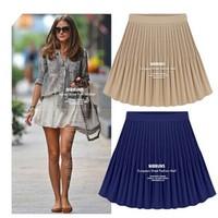 Promotion! New 2014 Fashion Women's  Big Skirts Retro High Waist Pleated Chiffon Skirts 3 Color Plus Size S-XL Free Shipping 178