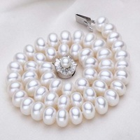 free shipping 10-11mm white freshwater pearl bread necklace pearl clasp 484/