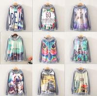 [bunny] 2014 New  Casual Lady Women Gray  Hooded Pullover Long Sleeve Tower/panda/country car  Printed women's Sweatshirt Hoodie
