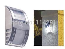 3 LED  Stainless Steel PIR Human Sensor Solar Aisle Lamp luminaria outdoor wall light solar panel lighting gargen lamps(China (Mainland))