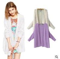 Women geometric sweater 2014 autumn winter cape cardigan european style sweater long sleeve for ladies wool roupas feminina size