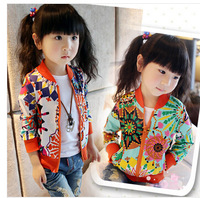 2014 Fashion Spring Baby Girls Sunflower Print Casual Jackets Coat Trendy Kids Zipper Thin Cardigan Tops Female Child Outerwear