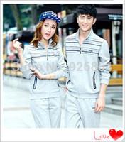 2014 autumn new cotton men's suit sports suit lovers female models female cardigan sweater suit