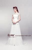 wedding dresses 2014 new tail manual nail bead word chiffon a line wedding dress vestido de noiva  romantic bridal gown 401