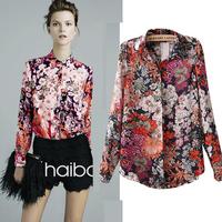 women's tops 2014 camisa chiffon Vintage Floral printed Shirt Women Long Sleeve blusa chiffon Shirts Blusas Femininas W00231