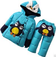 Hot sale 2014 Baby Down Jacket Suit Set Toddler Quality Down Coat+Pants Sets Boys Girls Children Winter Clothing For Kids HA526
