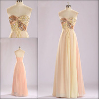 Real Picture beads crystal luxury sleeveless vestido de festa chiffon Sexy long real evening dress 2014 prom gowns NK-870
