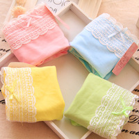 Free shipping hot sale Low Waist Ms. cotton underwear briefs cotton candy colored lace lovely ladies underwear
