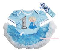 Frozen Princess Elsa 1ST Bodysuit Blue Silver Snowflake Organza Skirt Baby Dress NB-18M JS3319