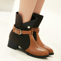 new autumn female shoes woman boots leather patchwork ankle boots for women thick heel fashion buckle winter women boots 2014