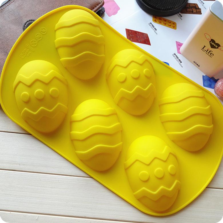 Free Shipping ,6 Hole Egg Shape Silicone Cake Mold ,Pudding Mold Chocolate Mould Big Size Silicone Soap Mold(China (Mainland))
