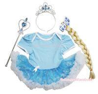 Frozen Rhinestone Princess Elsa Blue Bodysuit Snowflake Organza Skirt Baby Dress NB-18M JS3321