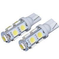 9 LED SMD T10 W5W 501 light Bulbs Ultra White (Pair)