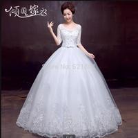 Wedding dresses the new 2014 sleeve lace neat, bind lace wedding dress vestido de noiva bridal gown vestido de noiva curto  403
