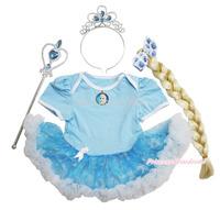 Frozen Princess Elsa Brooch Bodysuit Snowflake Organza Baby Dress & Costume Set NB-18M JS3322