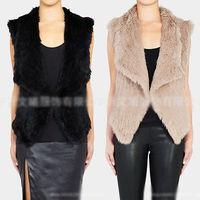 2014 new arrival Faux Rabbit Fur Body Warm Women Lady Vest Waistcoat Gilet Sleeveless Jacket  S-XXXL