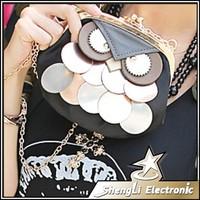 New 2014 Hot Owl Cartoon Glitter Female mini bag Chain Clip Women Crossbody Shoulder Phone Bags + Free Shipping