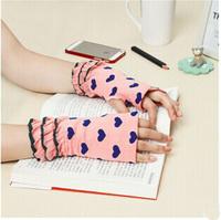 2014 New  Lovely Cartoon Pattern Fingerless Gloves  Winter Woman Computer Typing Rippled Edge Glove