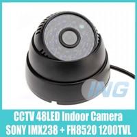 Black SONY IMX238 + FH8520 1200TVL Security Camera 48 LED IR Night Vision CCTV Camera Indoor Video Dome Camera Cam System