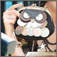 Hot 2014 New Owl Cartoon Glitter Slice Mini Female Chain Clip Bag Women Crossbody Shoulder Phone Bags