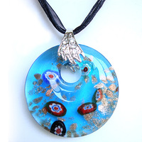 CollectionBP  Murano Glass  Blue Tone With Spots  Round Pendant Necklaces