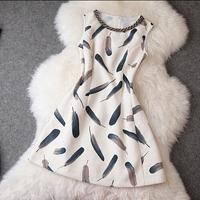 Women's Dresses Wholesale 2014 Autumn New Fashion Feather printing Slim Sleeveless Dress Free Shipping