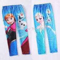 Girls leggings 2014 frozen pants Baby leggings Kid pants Girl frozen leggings Anna elsa Elastic waist Cotton children trousers