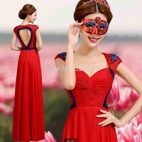 2014 new shoulders red fashionable dress long evening dresses cultivate morality  vestido de festa dress party evening elegant