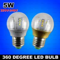5W LED Bulb LED lamp 360 degree lighting 220v-240V 2835 SMD epistar warm white Cold white free shipping