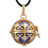 Harmony bola ball 18K Gold Angel caller mexican bola pendant  Wholesale angel sounds musical bell Bluish purple bell crystal