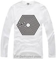 Hot 2014 Summer EXO Poisoning addictive Han Cotton Tees Fashion HipHop Korea T-shirts Casual Cool Basic Long-Sleeve Shirts