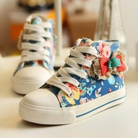 2014 autumn new arrival children canvas shoes cute flower printed sport shoes for girls casual kids sneakers with bow