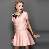 2014 autumn women's bow short top short bust skirt casual fashion set female