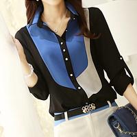 Plus Size Women Clothing Blusas Femininas Roupas Button Up Color Block Womens' Chiffon Shirt Blouses L-5XL
