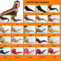 "16''18"" 20"" 22"" HumanHair 100S 50g Nail Tip Human Hair Extension hair free shipping All Color"