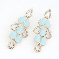 Fashion Brief Enamel Leaves Earring Women Crystal Stud Earring