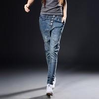 women jeans designer brand leggings ladies pant blue Straight leg pants jeans buttons young girl long trousers elastic plus size