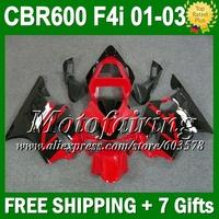 7gifts For HONDA CBR600 F4i FS  01 02 03 CBR 600 F4i Red black C349 CBR600FS CBR600F4i  2001 2002 2003 Factory red Fairings